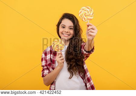 Sweet Childhood Life. Teen Dental Care. Sweet Tooth. Yummy. Happy Girl Hold Lollipop. Lollipop Child