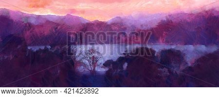 Beatiful Sky With Clouds Artistic Background. Cloudscape Painting