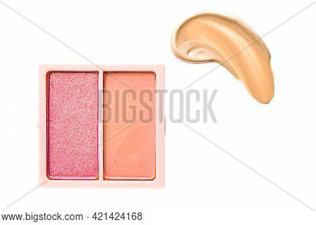 Eye Shadow Powder Or Blush Makeup Palette As Flat Lay, Pink And Orange Cosmetic Smear, Eyeshadow And