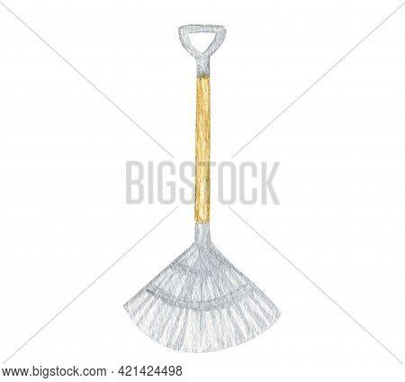 Watercolor Gardening Tools, Rake Isolated On White Background. Garden Tool Shovel Hand Painted Illus