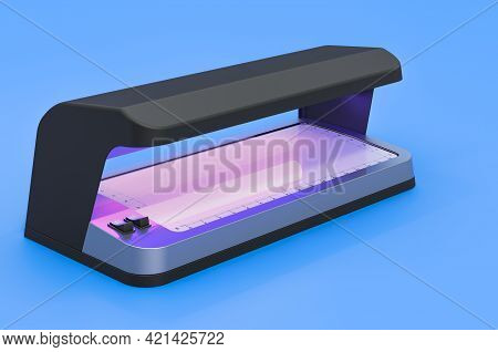 Currency Detector, Detector Banknotes On Blue Background, 3d Rendering