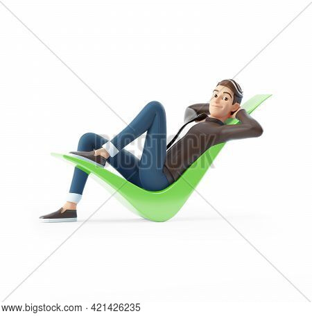 3d Cartoon Man Lying Down On Check Mark, Illustration Isolated On White Background