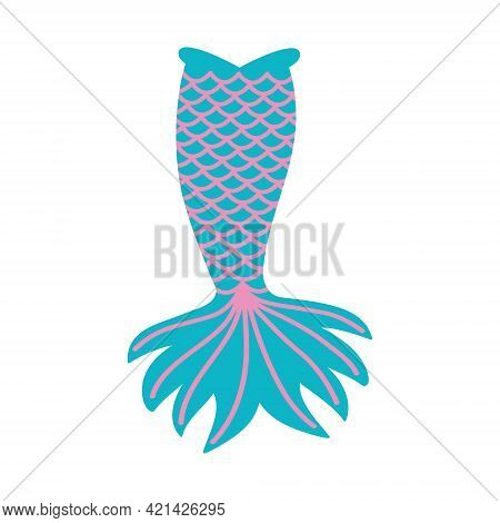 Cute Mermaid Tail Isolated On White Background. Props For Girls Party, Greeting Card Or T-shirt Prin