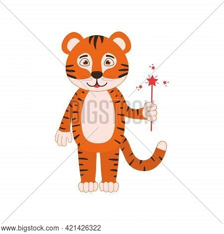 Cute Tiger Cub With Magic Wand. Funny Animal Character For Kids Isolated On White Background. Vector