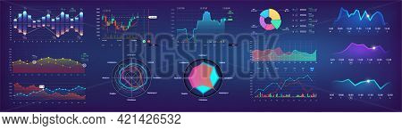 Futuristic Ui Dashboard Template With User Interface, Graphic, Infographics, Pie Charts, Bars, Data