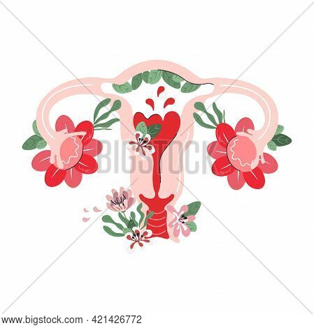 Female Reproductive System In Flowers. Woman Gynecology Anatomy Health. Hand Drawn Flat Style. Packa