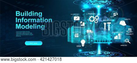 Bim - Building Information Modeling Concept Banner. Hologram 3d Model Buildings With Icons And Aspec