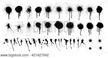 Black Ink Spots And Blots With Drip Lines Grunge Isolated On White Background. Grunge Texture Templa