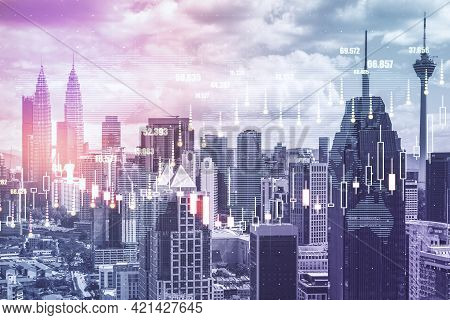 Global Trade Market Concept With Digital Financial Graphs And Candlestick On Megapolis City Skyscrap