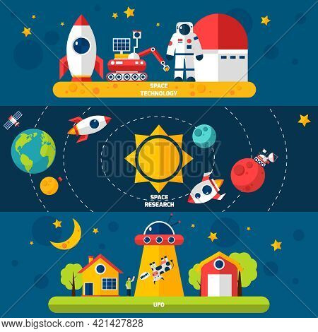 Space Exploration 3 Flat Horizontal Banners Set With Cosmonaut Spacecraft And Solar System Abstract