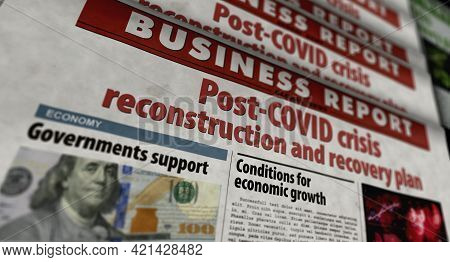 Post-covid Crisis Reconstruction And Recovery Plan Retro Newspaper Illustration