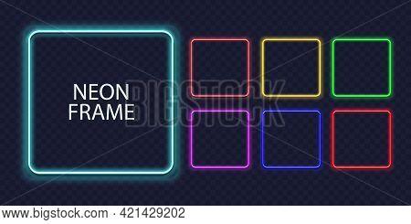 Square Neon Frames. Fluorescent Outline Border. Realistic Vector Led Shape