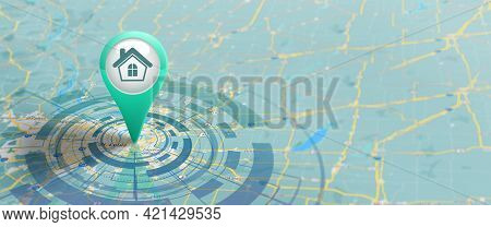 Gps Navigation Street Map With Pin Icon On Routes. Map And Pin Marker Location. Logistic, Geography,