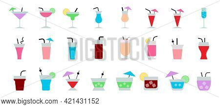 Set Of Summer Cocktails. Popular Alcoholic Cocktails. Flat Icons Set. Vector Illustration.