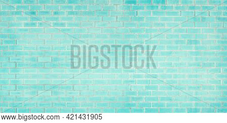 Close-up Photo Of Old Blue Brick Texture Detail Background. House, Shop, Cafe And Office Design Back