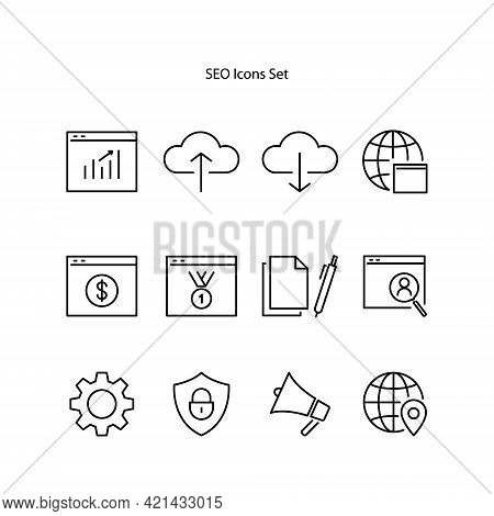 Seo Icon Isolated On White Background. Seo Icon Thin Line Outline Linear Seo Symbol For Logo, Web, A