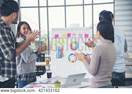Creative Design Office Center Working Teamwork. Happy Business People Partner Plan Strategy Organiza