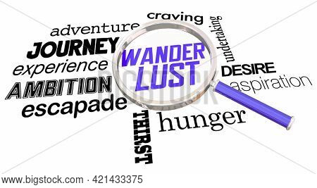 Wanderlust Magnifying Glass Search for Fun Adventure Experience Words 3d Illustration