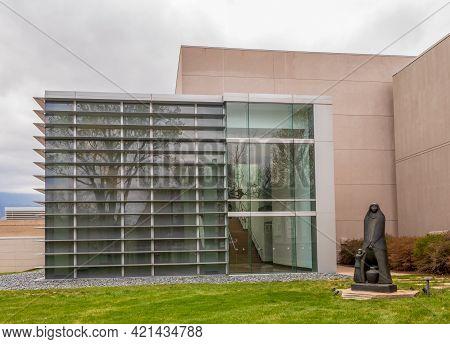 Colorado Springs, Colorado - May 15, 2021: Beautiful Sculptures In Front Of Colorado Springs Fine Ar