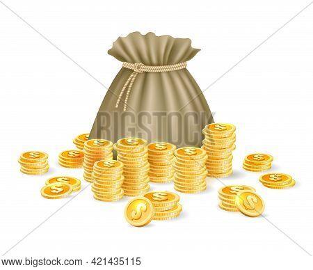 Gold Coins Bag. Cartoon Money Sack, Golden Treasure Wealth Ancient Purse, Sacked Rich Money Bag For
