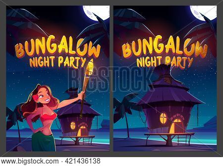 Bungalow Night Party Cartoon Posters. Young Woman Holding Glowing Torch On Beach With Hut Under Star