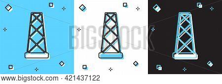 Set Antenna Icon Isolated On Blue And White, Black Background. Radio Antenna Wireless. Technology An
