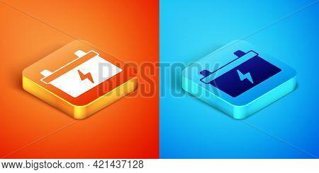 Isometric Car Battery Icon Isolated On Orange And Blue Background. Accumulator Battery Energy Power