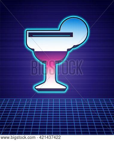 Retro Style Margarita Cocktail Glass With Lime Icon Isolated Futuristic Landscape Background. 80s Fa