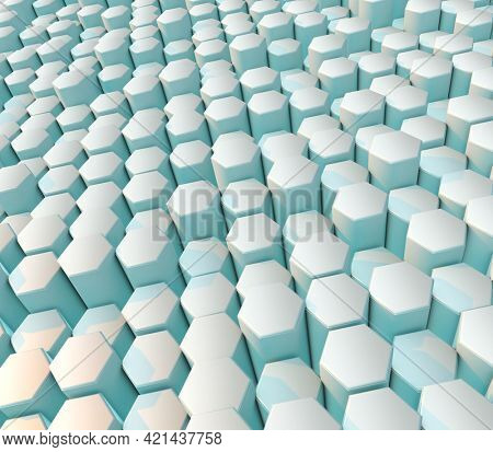 3D render of a modern abstract background with hexagons
