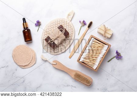 Bath Tools On White Marble Background, Top View, Copy Space. Daily Bodycare Concept, Natural Bath Pr