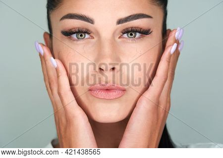 Woman With Artificial Eyelash Loss Problem. Fallen Eyelashes All Over The Face
