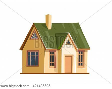 Rural House In A Cheerful Cartoon Flat Style. Isolated On White Background. Half Turn. Gable Green R