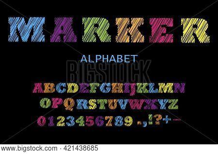 Retro Rainbow Red Alphabet. Grunge Texture. Typography Design. Vintage Seamless Pattern. Vector Illu