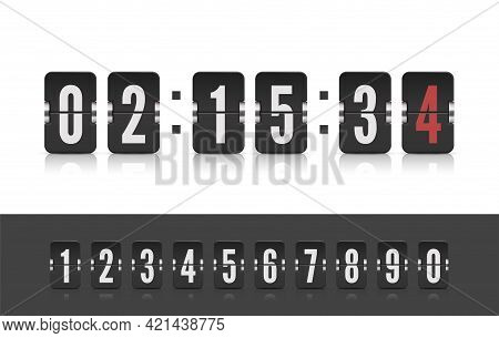 Vector Modern Ui Design Old Countdown Timer. Coming Soon Web Page Design With Flip Time Counter. Sco