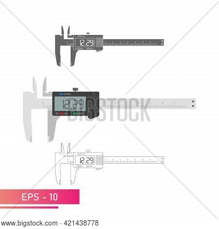 A Set Of Digital Vernier Calipers With A Display And A Numeric Scale. Realistic, Lines And Solid Col