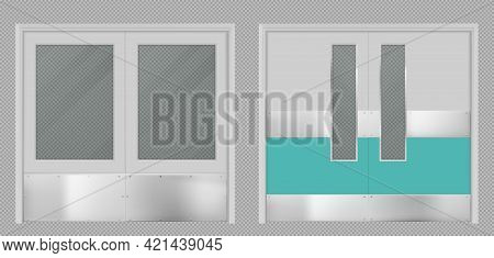 Doors For Laboratory, Kitchen, Hospital, School Or Food Production Storage Facilities With Rectangul