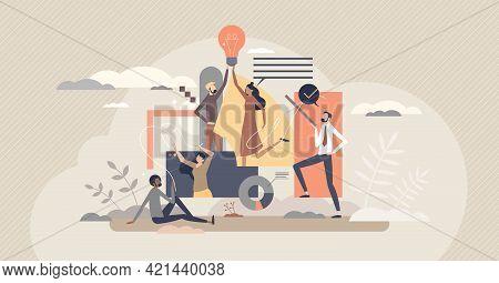 Teamwork Creativity And New Innovative Idea Development Tiny Person Concept. Collaboration And Partn