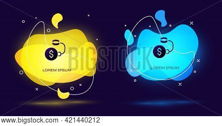 Black Debt Ball Chained To Dollar Coin Icon Isolated On Black Background. Big Heavy Debt Weight With