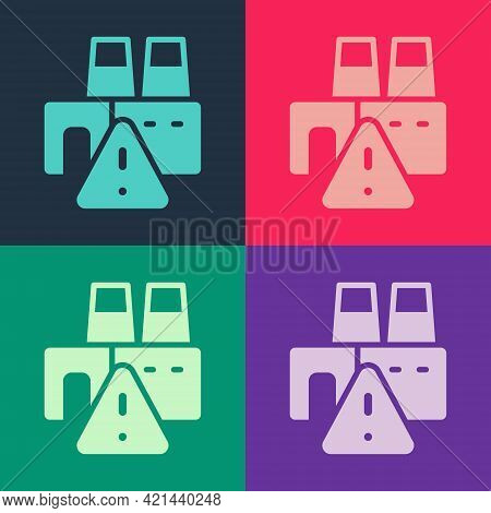 Pop Art Shutdown Of Factory Icon Isolated On Color Background. Industrial Building. Vector