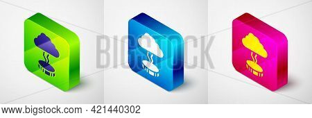 Isometric Storm Icon Isolated On Grey Background. Cloud And Lightning Sign. Weather Icon Of Storm. S