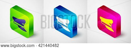 Isometric Pilot Hat Icon Isolated On Grey Background. Square Button. Vector