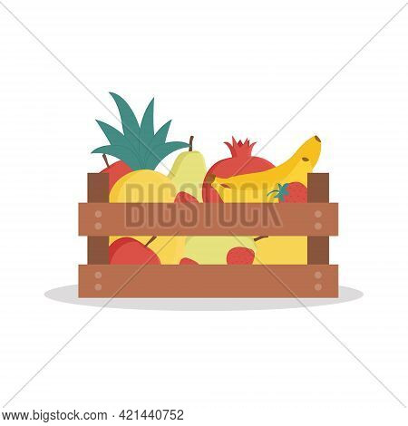 Wooden Box With Fresh Fruits. Pineapple, Pomegranate,strawberry,banana, Pear, Apple, Lemon. Vector I