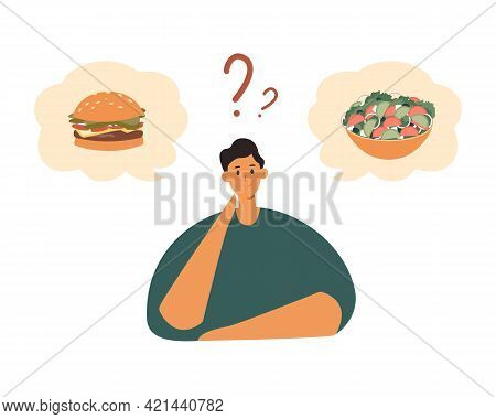 Fat Male Character Choosing Between Healthy And Unhealthy Food.good Or Bad Diet, Obesity, Weight Pro