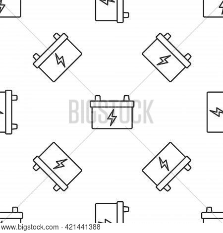 Grey Line Car Battery Icon Isolated Seamless Pattern On White Background. Accumulator Battery Energy