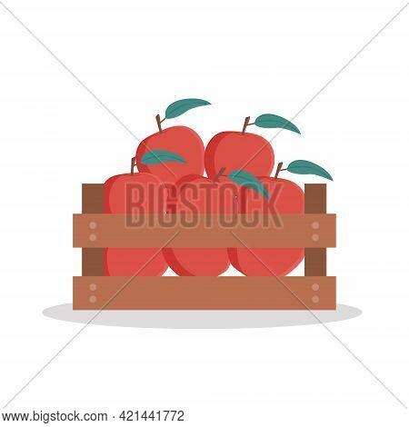 Wooden Box  Full Of Apples. Vector Illustration