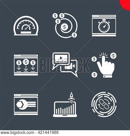 Seo Related Vector Glyph Icons Set. Website Optimization, Efficiency, Growth Traffic, Pay Per Click,