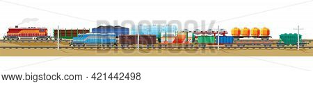 Set Of Train Cargo Wagons, Cisterns, Tanks And Cars. Railroad Freight Collection. Flatcar, Boxcar, C