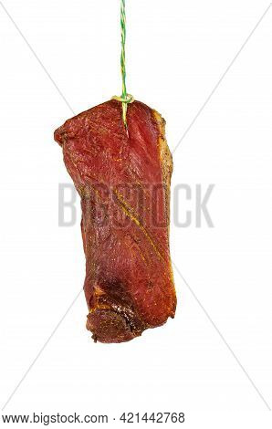 Appetizing Dry-aged Meat On A White Background. Ready-to-eat Piece Of Dry Aged Pork Loin With White