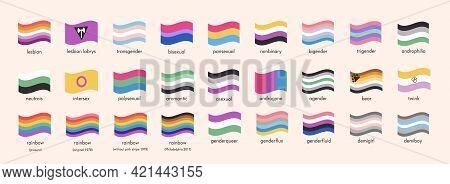 Sexual Identity Lgbtq Pride Flags. Big Set Of Sexual Diversity Lgbt Symbols. Infographic Of Gender M