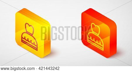 Isometric Line Woman Dress Icon Isolated On Grey Background. Clothes Sign. Yellow And Orange Square